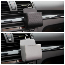 PU Leather Auto Vent Outlet Hanging Car Storage Box Universal Mobile Phone Organizer Bag