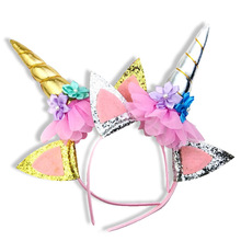Unicorn Horn Hairband For Girls Kid Children Birthday Party Gift Rainbow Glitter Flower Headband Hair Hoop стоимость