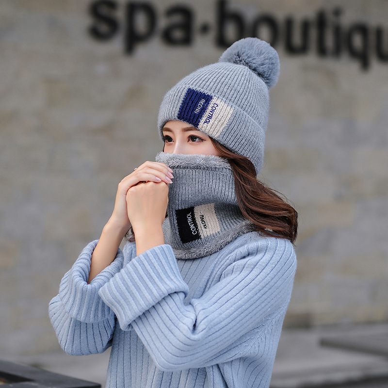 Fashion Winter Hat And Ring Scarf Set For Women Thicken Warm Winter Pom Poms Hat And Ring Scarves Unisex Beanie Hat Smoky Blue