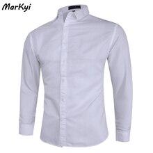 MarKyi осень 2020 твердый длинный рукав платье рубашки мужчины плюс размер S-формы 5XL твердые рубашки для мужчин случайные