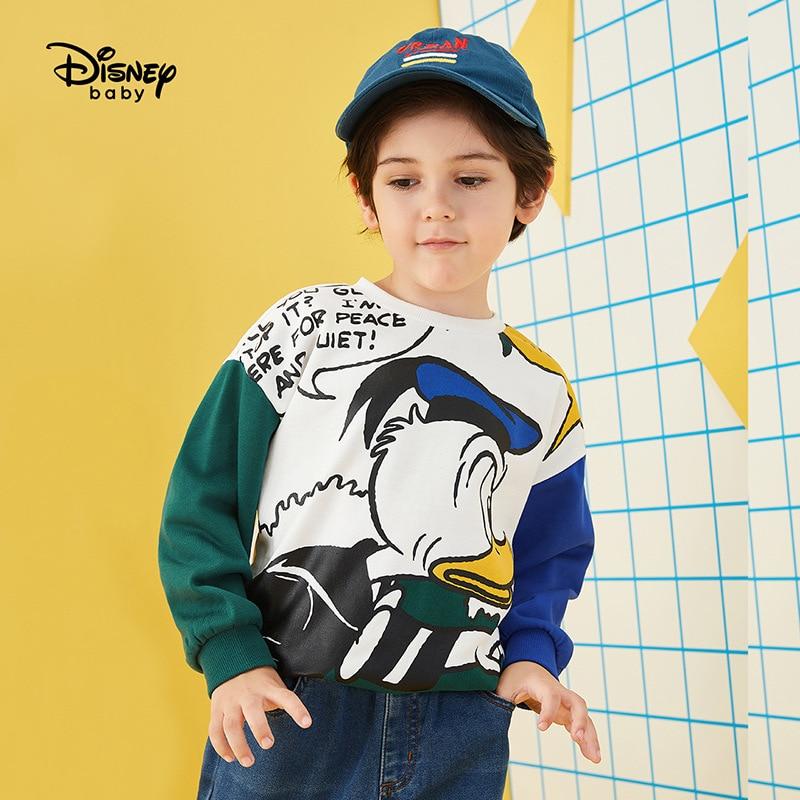 Original Disney Boy's Sweater Spring And Autumn New Handsome Children's Wear Round Collar Contrast Color Cartoon Donald Duck