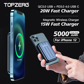 Power Bank 5000mAh Magnetic Wireless Charger Powerbank for iPhone 12 12 mini 12 pro max 20W PD QC Quick Charge External Battery image