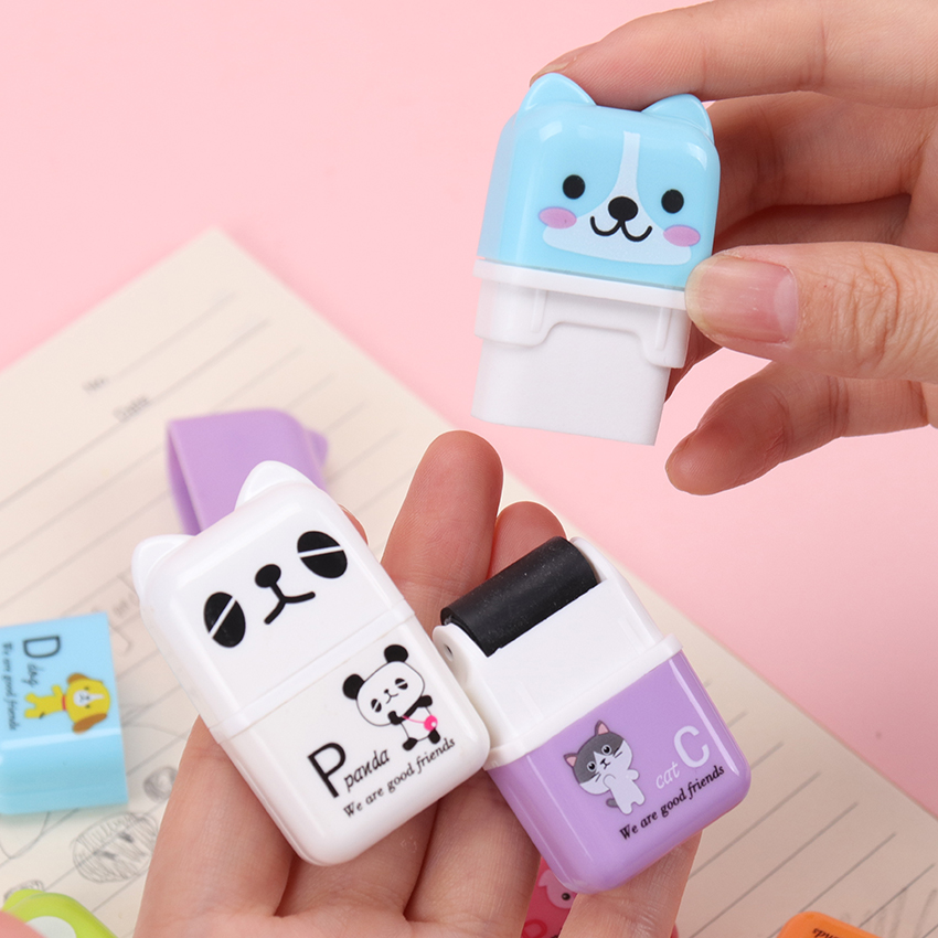 1PC Cute Cartoon Roller Colorful Rectangle Eraser Rubber Students Stationery Kids Gifts School Office Correction Supplies