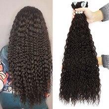 Meepo afro kinky encaracolado pacotes de cabelo sintético 32 Polegada super longo cachos completo cabeça marrom loira tecer ombre extensões de cabelo