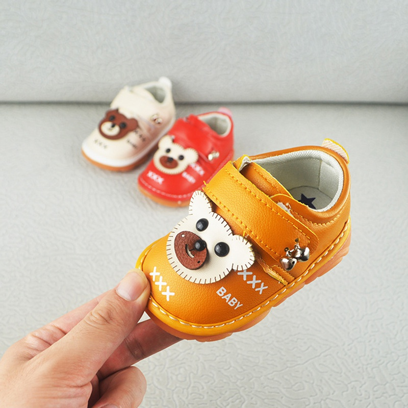 Autumn Spring First Walkers Toddler Shoes Baby Boys Girls Cartoon Bear Cow Muscle Soft Bottom Non-Slip Baby Shoes