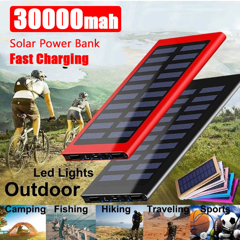 30000mAh Ultra-hohe Kapazität Solar Power Bank Tragbare Ladegerät High-Speed Lade Externe Batterie Packs mit Led taschenlampe