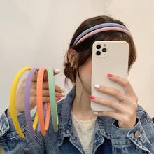 Słodkie cukierki kolor cienkie opaski eleganckie dzianiny kolorowe opaski dla kobiet dziewczyny mecz opaska na głowę Turban stroik tanie tanio MCClip CN (pochodzenie) Poliester Dla dorosłych Moda Cartoon TR0270 candy headbands 6 color