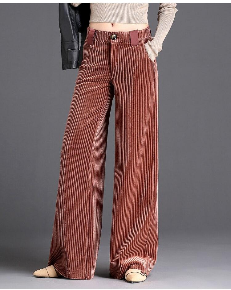 Золотые бархатные плиссированные широкие брюки для женщин осень и зима мода 2020 новые отторжения брюки длинные драпированные большие брюки