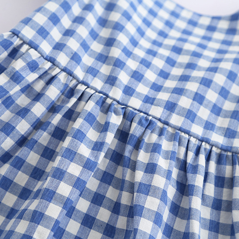 2021 New Summer Flying sleeve Plaid Baby Girl Clothes Ruffles Backless Children Dress Leisure Lovely Baby Dress Kids Clothing 6