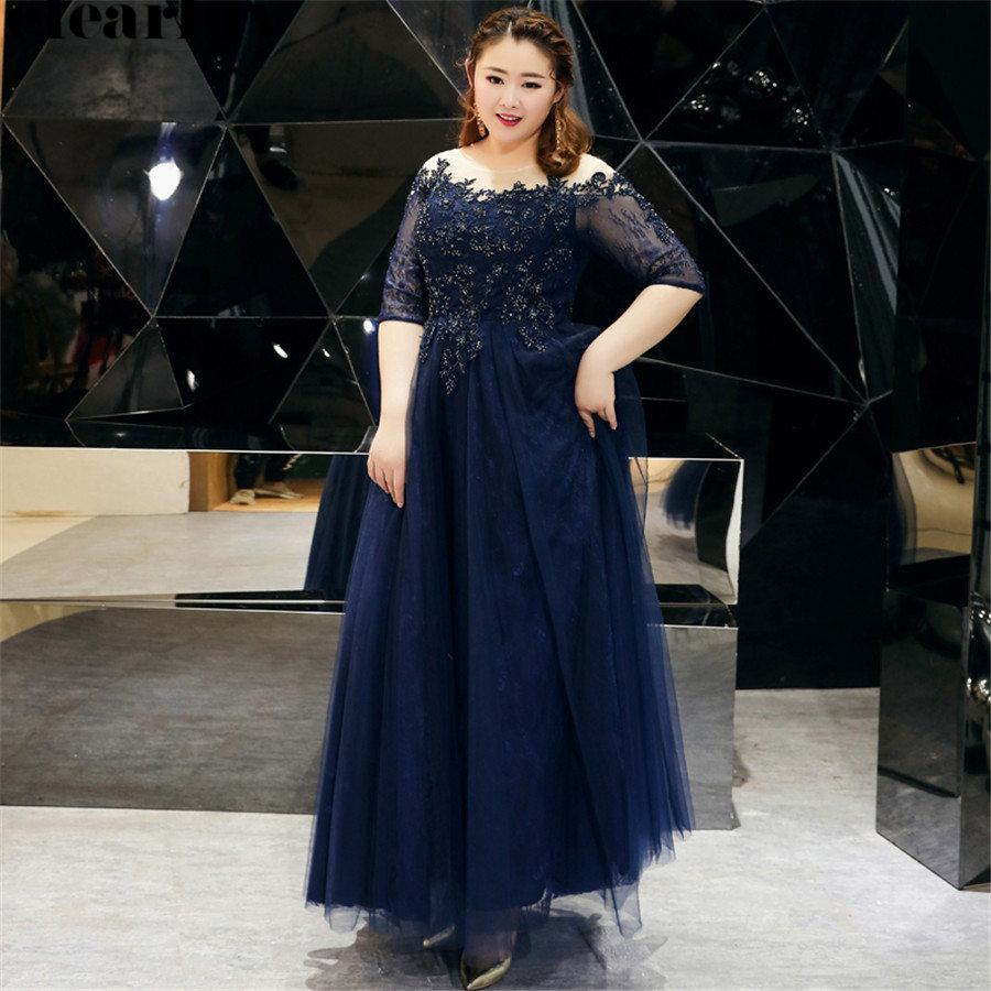 Evening Dresses Long Navy Blue Vintage Robe De Soiree T528 2019 New Plus Size Elegant Women Party Dresses Lace Formal Prom Gown
