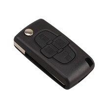 자동차 교체 키 셸 4 버튼 플립 접는 원격 키 케이스 Fob 커버 푸조 1007 시트로엥 c8에 대 한 빈 블레이드