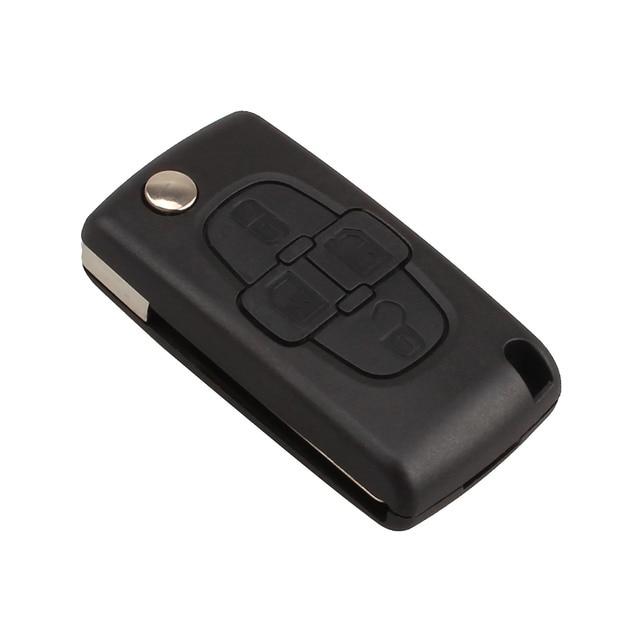 Araba yedek anahtar kabuk 4 düğme çevirme katlanır uzaktan anahtar kutu Fob kapak boş Blade için Peugeot 1007 Citroen C8