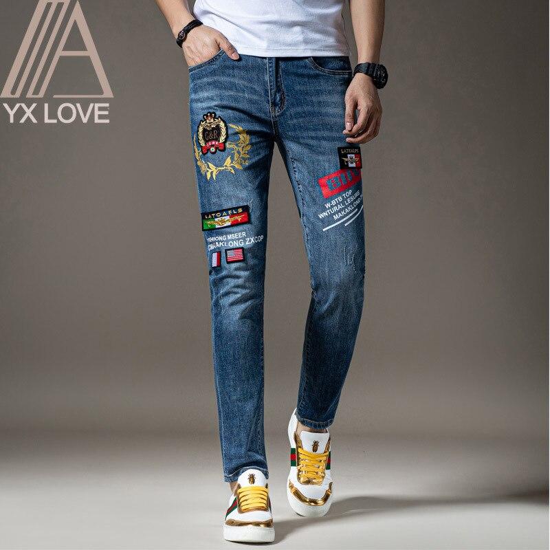 Bordado Jeans Para Hombre Azules Patrones Fantasticos Calidad Marca Slim Elastico Comodo Hip Hop Pantalones Multiples Estilos Pantalones Pantalones Vaqueros Aliexpress