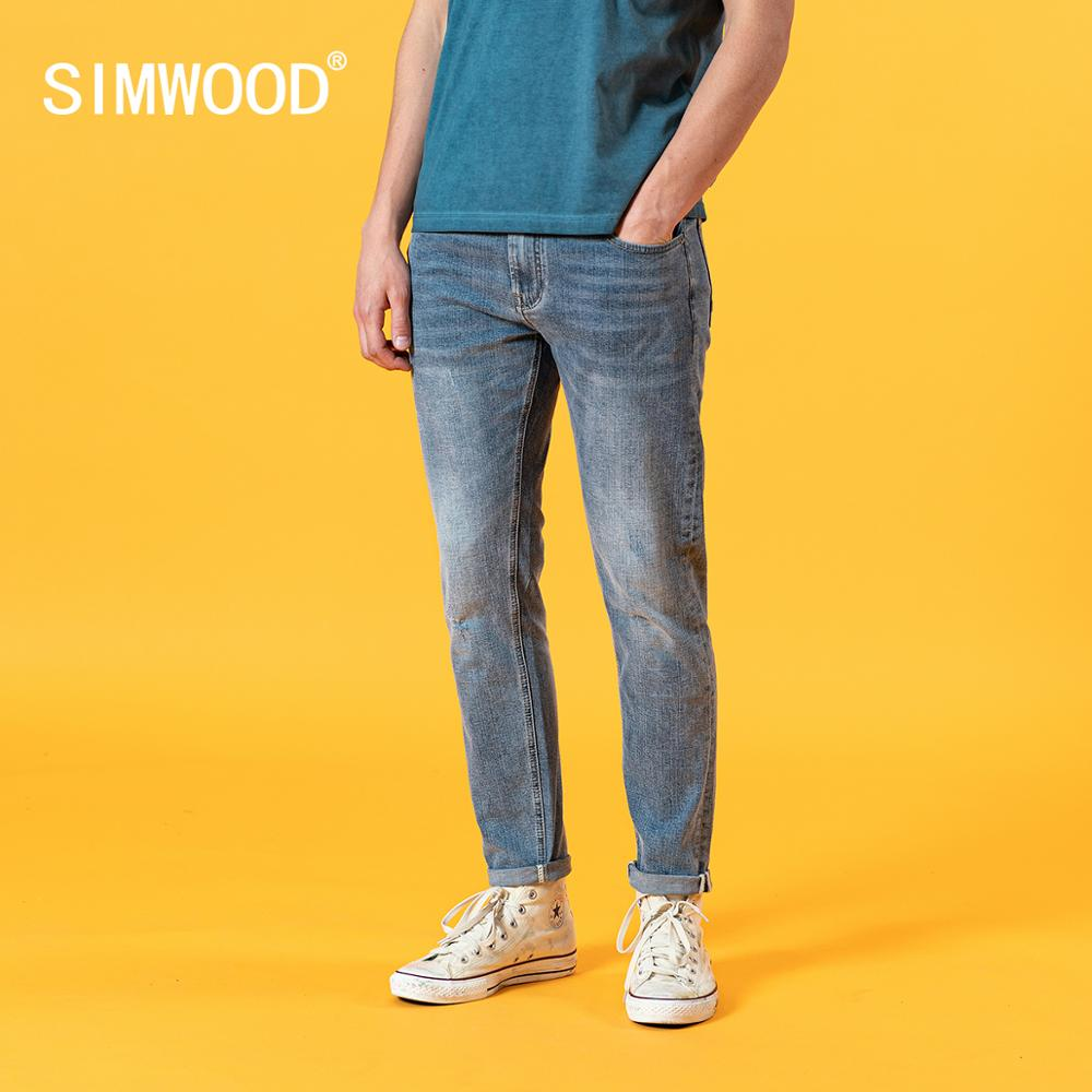 SIMWOOD 2020 Summer new slim fit light blue jeans men fashion classical denim trousers high quality brand clothing SJ120387