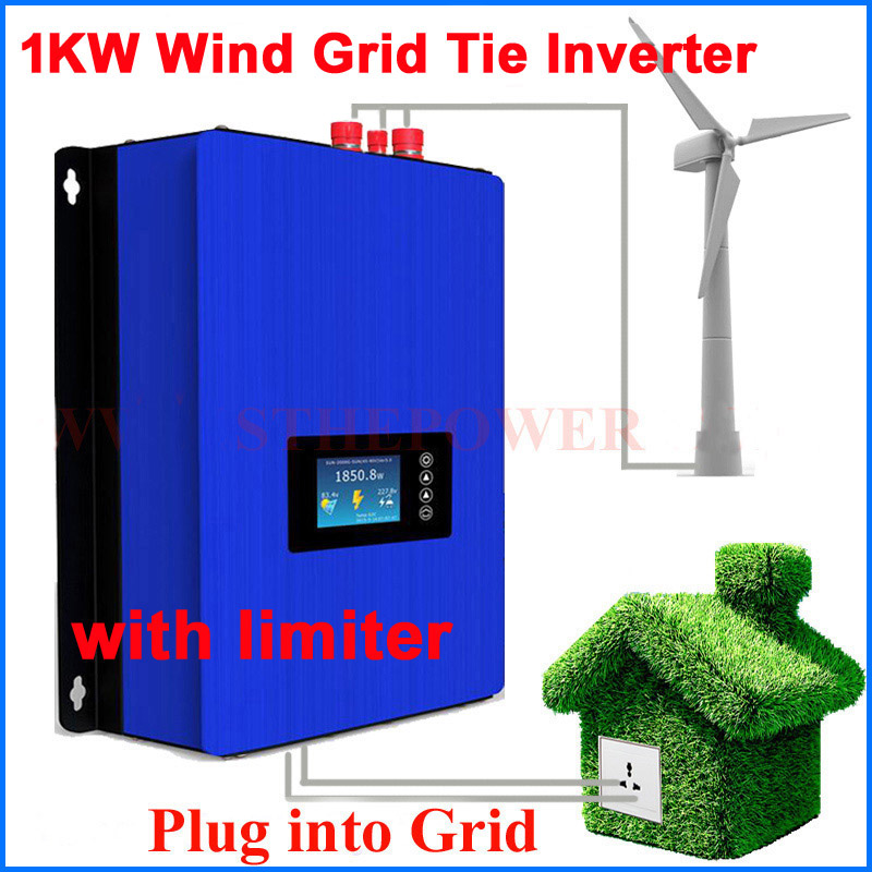 <font><b>1000W</b></font> Wind Power Grid Tie Inverter with Dump Load <font><b>Controller</b></font>/internal limiter for 24v 48v <font><b>60v</b></font> AC DC wind turbine generator image