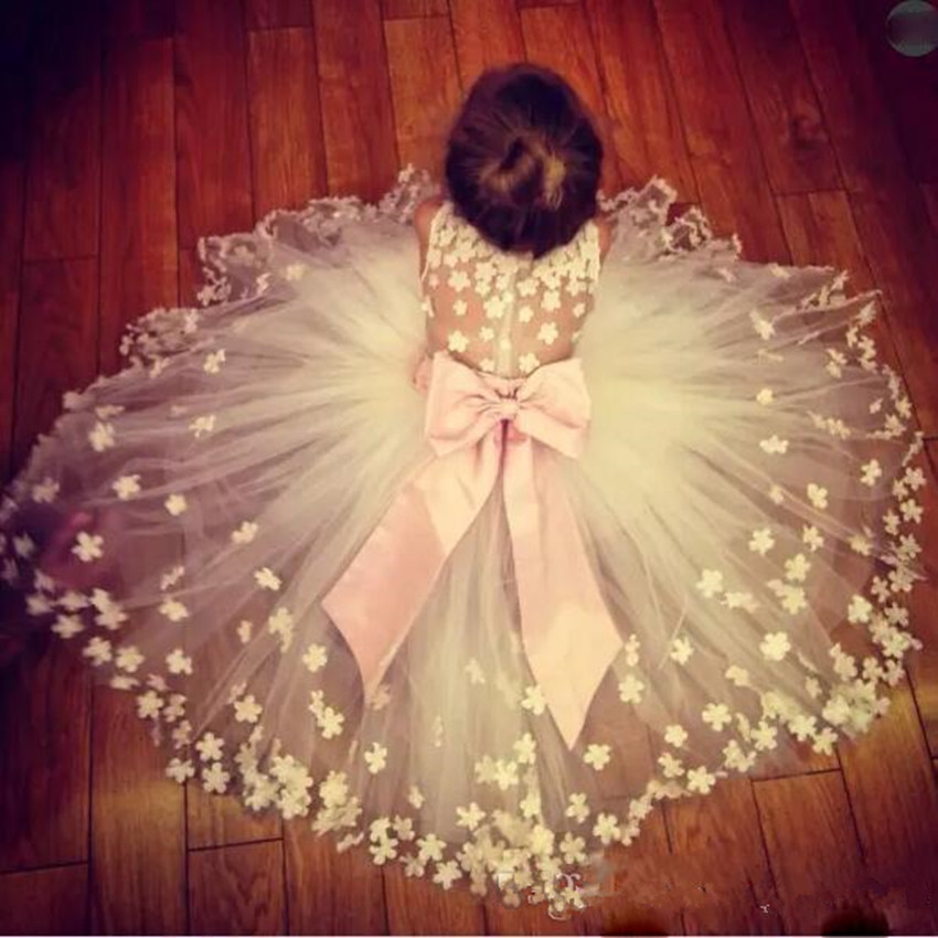 Tulle Sheer Back Flower Girl Dresses For Wedding Big Bow Sleeveless Girls Pageant Gowns Flora Appliques Baby Birthday Dress