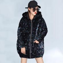 2020 зимние размера плюс хлопок пальто для женщин с блестками