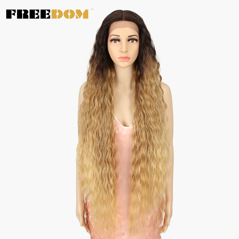 FREEDOM Synthetic Lace Front Wigs 40 Inch Supper Long Deep Natural Wave Ombre Blond 613 Color Hair Wigs For Black Women Fashion