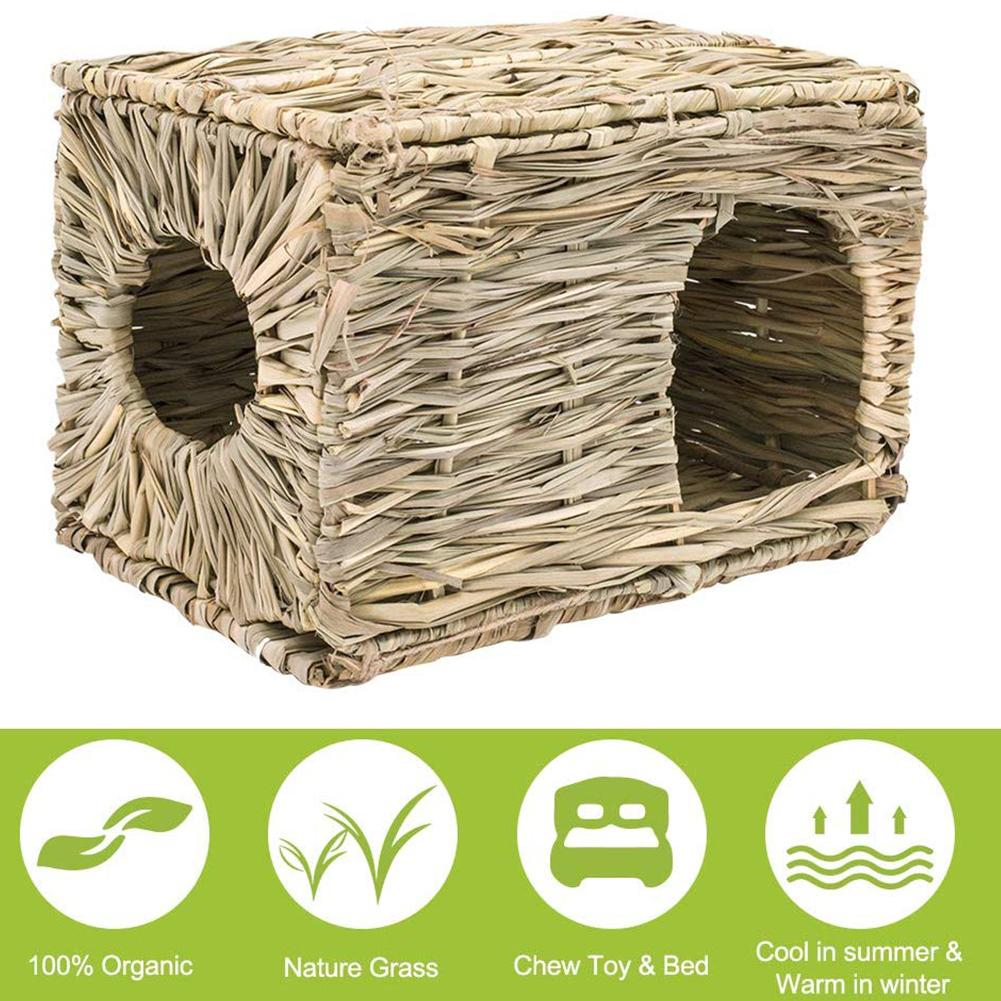 Rabbit Straw House Natural Grass Cage Hut Pet Small Animal Grassy Nest Warm House Handmade Cage For Winter Small Animals Supply