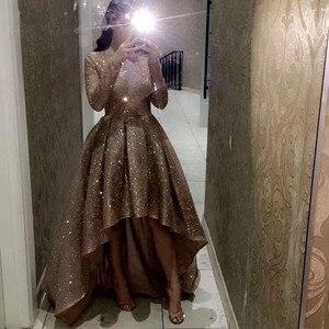 Короткое спереди длинное сзади выпускное платье для женщин 2020 нового цвета шампанского, с длинными рукавами и круглым вырезом шикарные веч...