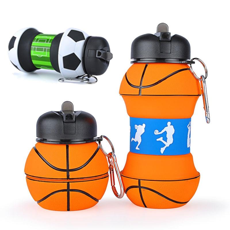 Sports Fold Water Bottle Football Basketball Tennis Leakproof Portable Silica gel Kettle Travel Office School Kids Water Bottle