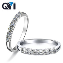 QYI Classic Halo Ring 925 Solid Silver Round Cut Simulated Diamond Engagement Wedding Rings Women Gift