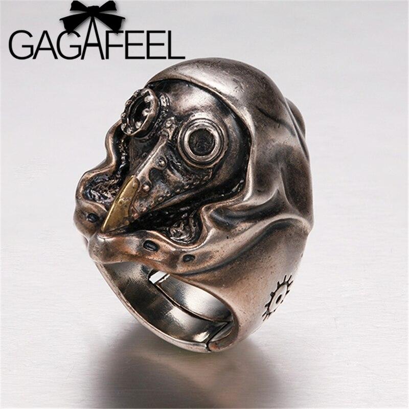 GAGAFEEL Punk machiniste anneau crâne S925 en argent Sterling anneaux réglables Vintage vapeur corbeau anneau ouvert bijoux en argent thaïlandais pour hommes