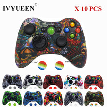 IVYUEEN 10 Pcs Silicone Protective Skin for Microsoft Xbox 360 Controller Case Printing Cover + Analog Thumb Grips Joystick Cap
