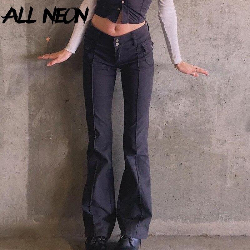 ALLNeon Indie esthétique mince taille basse Flare pantalon e-girl Vintage poches solide Y2K pantalon automne 90s mode noir pantalon