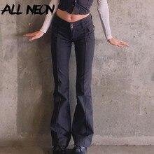 ALLNeon Indie estetica pantaloni svasati a vita bassa Slim tasche Vintage e-girl pantaloni Y2K solidi pantaloni neri moda autunno anni '90