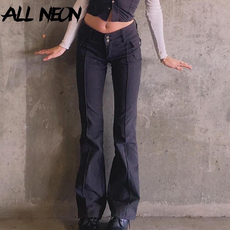 ALLNeon Indie estetica pantaloni svasati a vita bassa Slim tasche Vintage e-girl pantaloni Y2K solidi pantaloni neri moda autunno anni 90