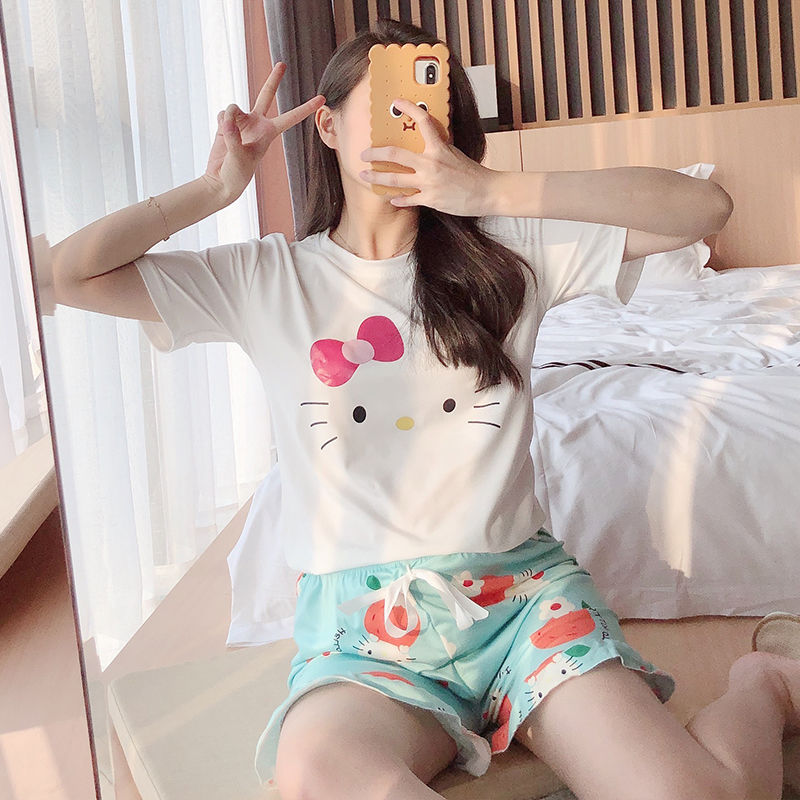 Women Pajamas Shorts Pyjama Round Neck Short Sleeve Set Summer Cartoon Sleepwear Casual nightwear homewear|Pajama Sets| - AliExpress