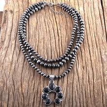Rh moda boho jóias 3 camada cinza desenho ccb preto pedra lua pingente colares feminino bohemia colar presente dropship