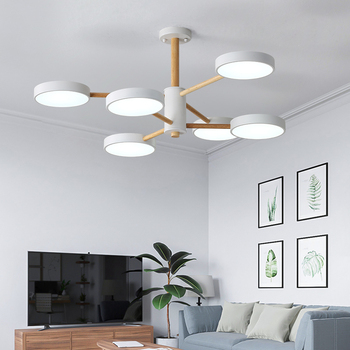 New Modern Led Pendant Light Hanging Lamp White&Gray Wooden Ceiling Pendant Lamp for Dining room Kitchen Living room Fixtures