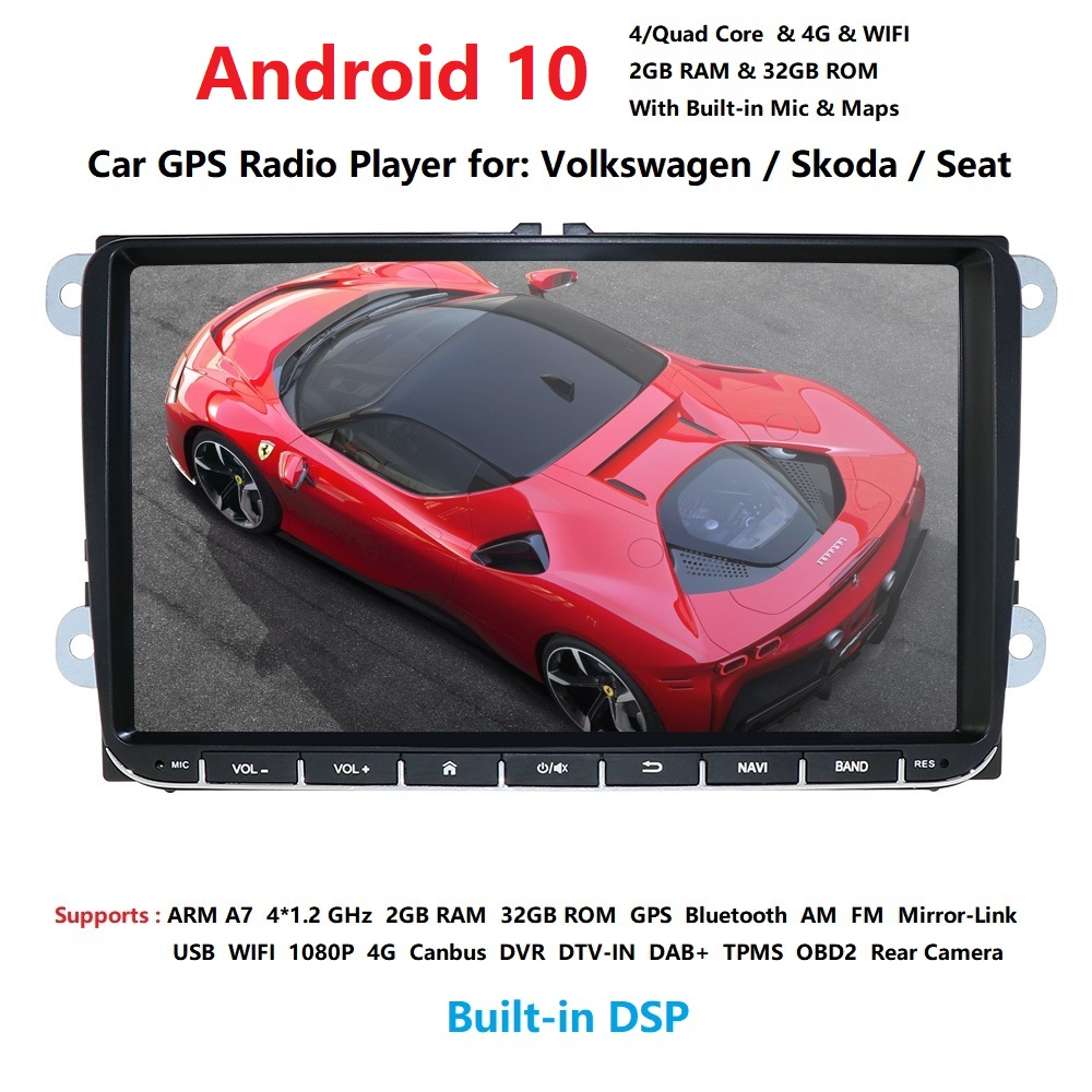 2 din Android 10.0 Quad Core Car <font><b>Multimedia</b></font> for VW Passat CC Polo <font><b>GOLF</b></font> 5 <font><b>6</b></font> Touran EOS T5 Sharan Jetta Tiguan GPS Radio bt radio image