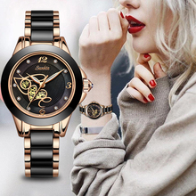 SUNKTA Gift Diamond Surface Ceramic Strap Fashion Waterproof Women Watches Top Brand Luxury Quartz Watch Women Relogio Feminino