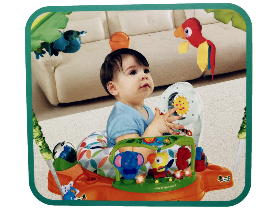 Hc5b44f84c1374320aa99e2af30fd7bf6O Multifunctional Electric Baby Jumping Walker Cradle Rainforest Baby Swing Body-building Rocking Chair Lucky Child Swing 3 M~2 Y