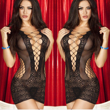 porno Sexy Lace Hollow Out Lingerie Women Hot Erotic Sleep Wear Babydoll Langerie Sex Chemises Nightwear 1