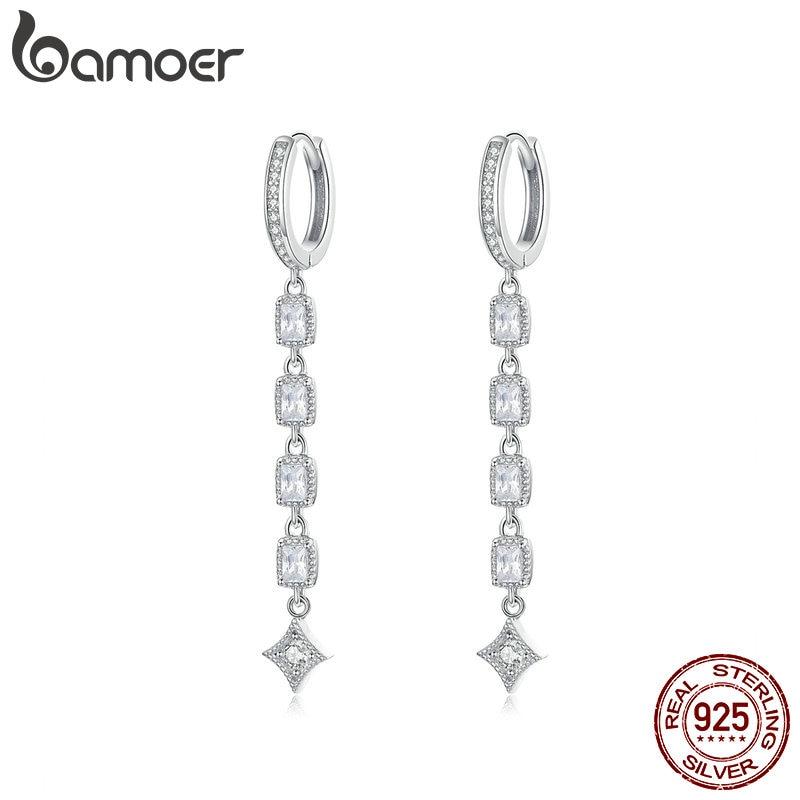 bamoer Geometric Long Dangle Earrings for Women Wedding Engagement Jewelry 925 Sterling Silver Female Luxury Bijoux SCE583