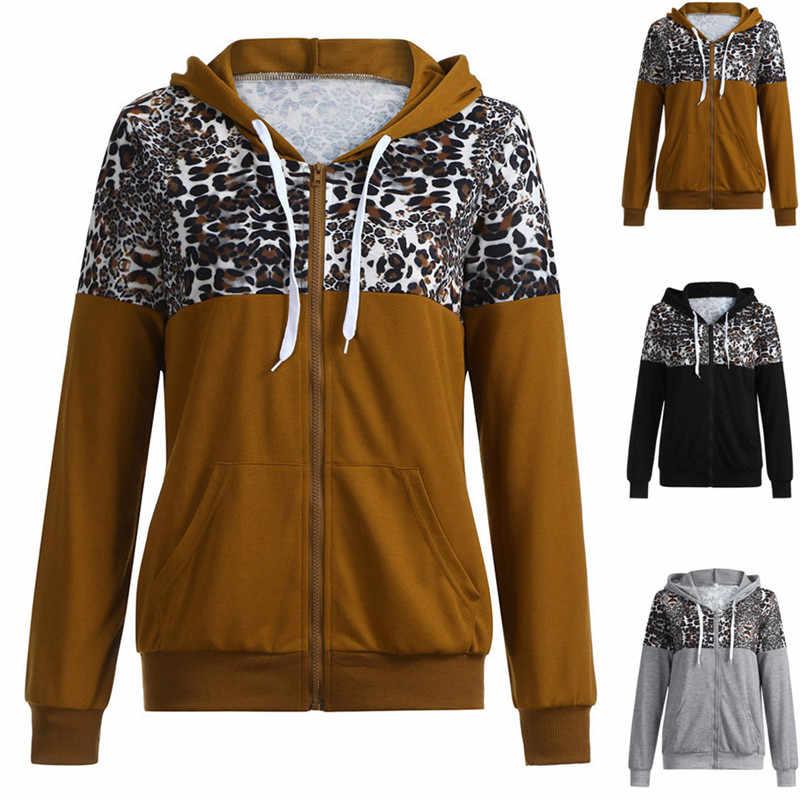 ジッパーヒョウ柄ジャケットフィットネス服トップスポーツジムスポーツウェア女性の服女性ジャケットフード付きヨガジャケット