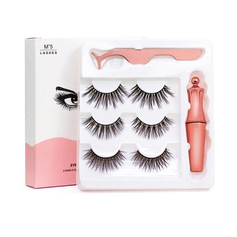 3Pairs 3D Magnetic Fake Eyelashes Eyeliner Suit Natural Full-Eyed 5 Magnet Eyelashes Reusable False Lashes With Tweezer