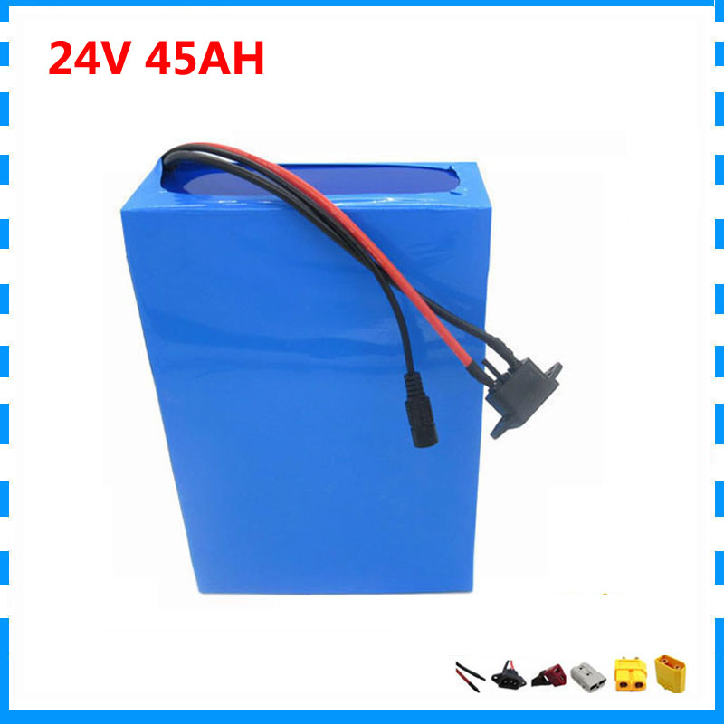 Wholesale 15pcs/lot 1000W <font><b>24V</b></font> li ion battery pack <font><b>24V</b></font> 45AH <font><b>scooter</b></font> battery 24 V bicycle battery 50A BMS with 29.4V <font><b>5A</b></font> <font><b>Charger</b></font> image