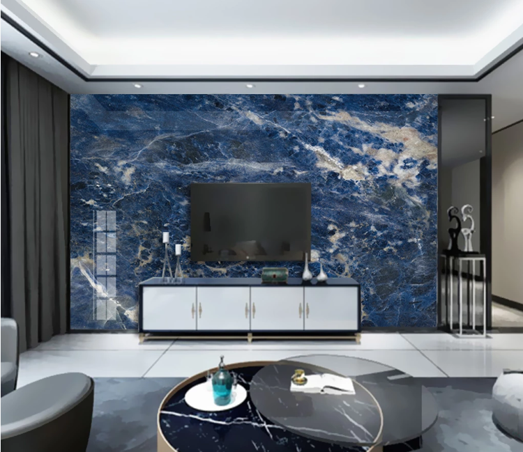 Blue Marble Wallpaper Cloth Papers Wall Decor Painting Large Photo Contact Wall Paper HD Printed Abstract Murals Paper Custom