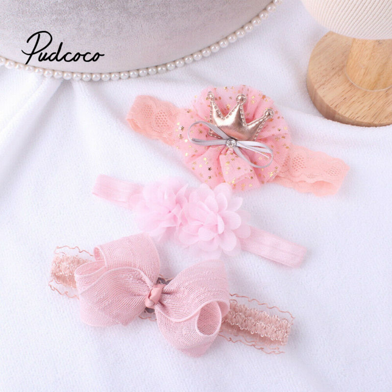 3pcs/lot Newborn Baby Boys Girls Cotton Ribbed Headbands Kids Childs Soft Stretch Bow Knot Headwear Hair Bands Accessories