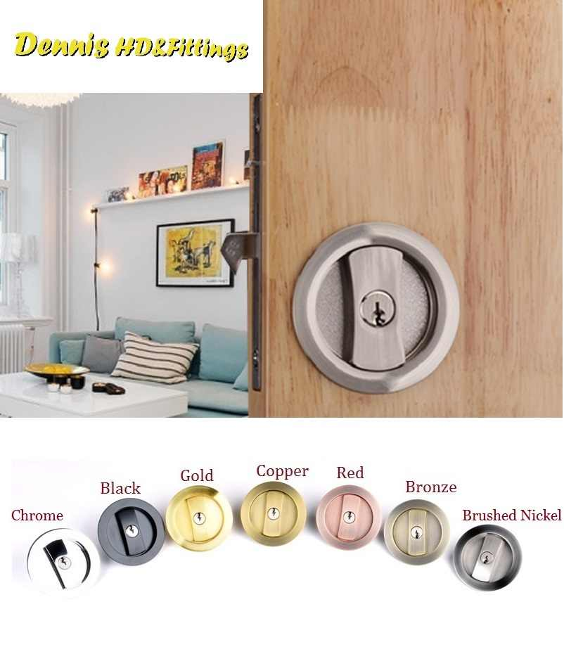 Sliding pocket door locking kit in copper