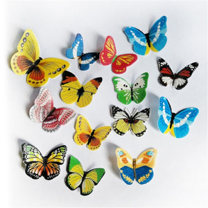 42pcs Edible Butterfly Cake Decoration Mixed 3D Butterfly Glutinous Wafer Rice Paper Baking Tools Cake Dessert Decorator