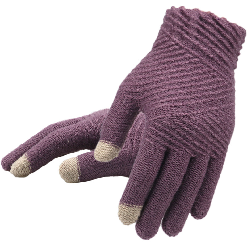 Winter Gloves For Women Solid Color Patchwork Comfortable High Quality Knitting Outwork Five Finger Female Gloves Warm