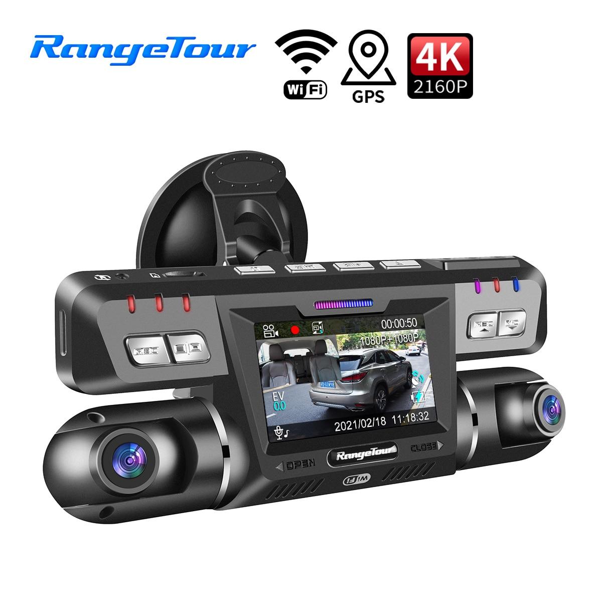 Диапазон Тур 4K 2160P Видеорегистраторы для автомобилей тире Камера Wi-Fi GPS ADAS ИК Ночное видение для такси путешествия Камера спереди и кабина дв...