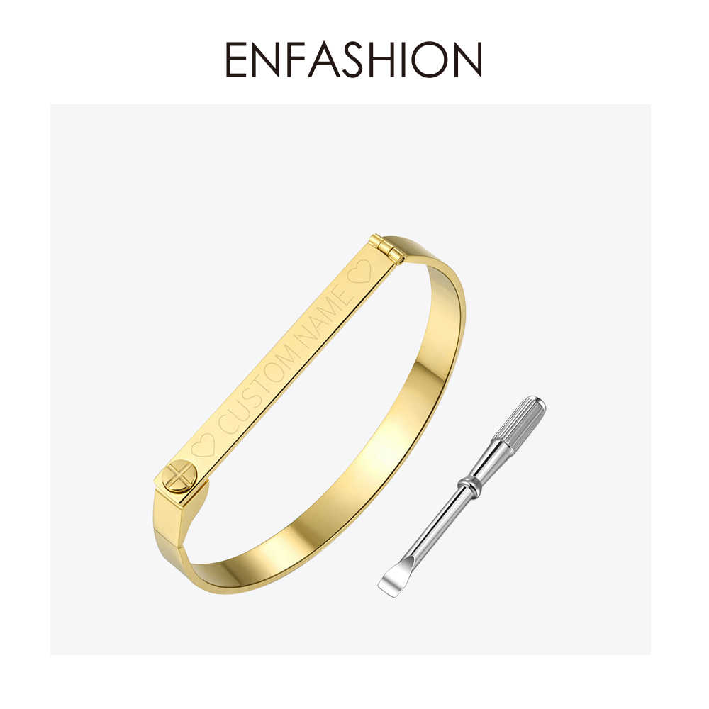 Enfashion Personalized Engraved Name Bracelet Gold Color Bar Screw Bangle Lovers Bracelets For Women Men Cuff Bracelets Bangles