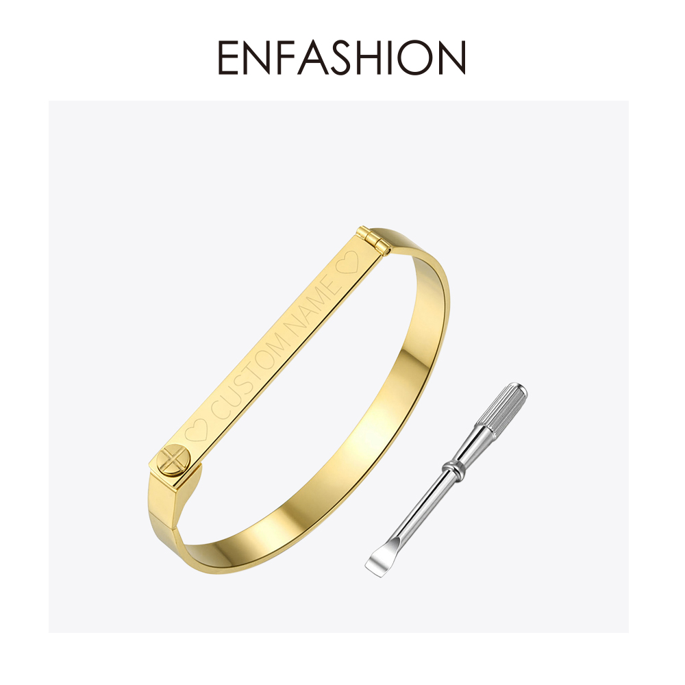 Enfashion Personalized Engraved Name Bracelet Gold Color Bar Screw Bangles Lovers Bracelets For Women Men Cuff Bracelets B4003-M